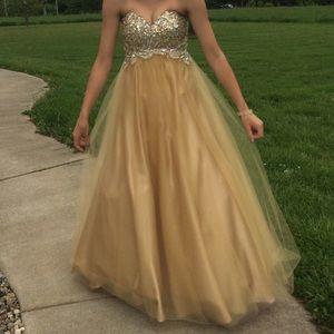 9b4d109a9 Dresses | Gold Ballroom Style Prom Dress | Poshmark